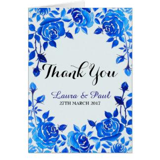 Indigo Blue Floral Wedding Thank You Card