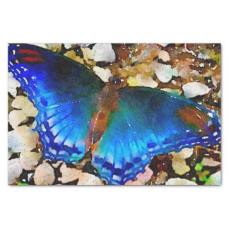 Indigo Blue Green Watercolor Butterfly Tissue Paper