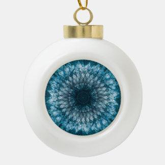 Indigo Blue Mandala Ceramic Ball Christmas Ornament