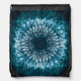 Indigo Blue Mandala Drawstring Bag