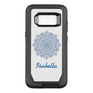indigo blue  metalic Mandala white monogrammed OtterBox Defender Samsung Galaxy S8 Case