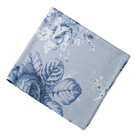 Indigo Blue Modern Vintage Floral Toile Hanky Bandana