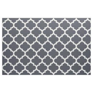 Indigo Blue Moroccan Quatrefoil Trellis Fabric