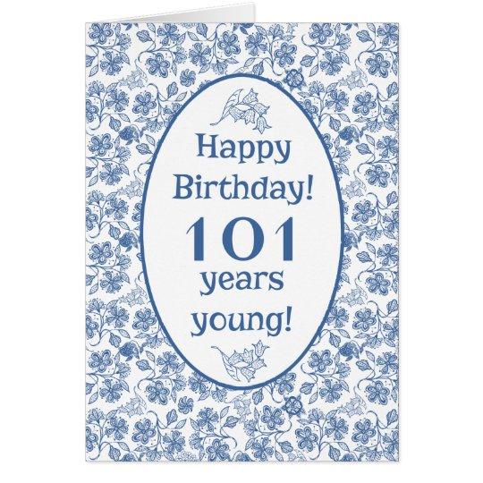 Indigo Blue on White Floral 101st Birthday Card