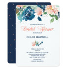 Indigo Blue Peach Roses Bridal Shower Invitation