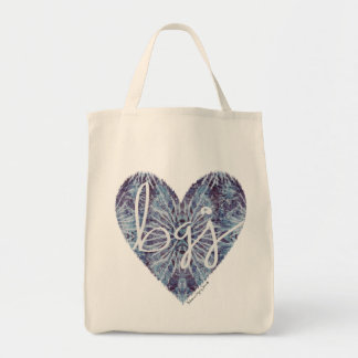Indigo Blue Tie Dye Heart Tote Bags