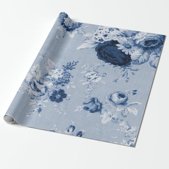 Indigo Blue Tone Vintage Floral Toile Fabric No.5
