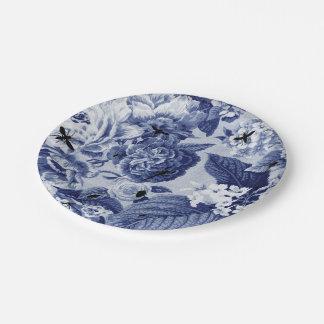 Indigo Blue Vintage Botanical & Bugs Floral Toile Paper Plate