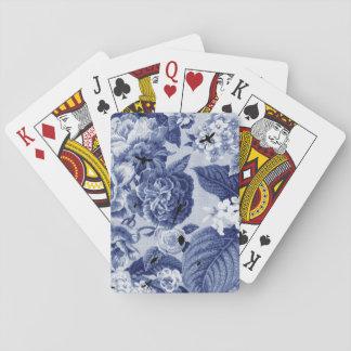 Indigo Blue Vintage Botanical Floral Toile & Bees Playing Cards