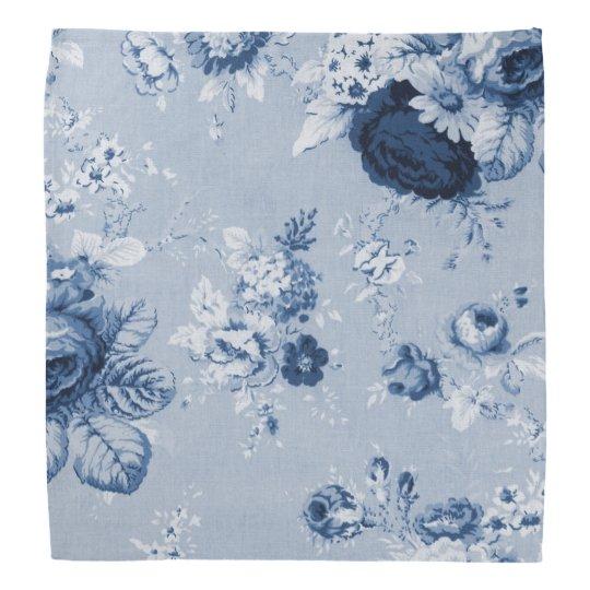 Indigo Blue Vintage Botanical Floral Toile No.5 Bandana
