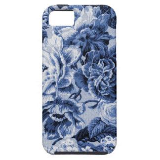 Indigo Blue Vintage Floral Toile Fabric No.1 iPhone 5 Case
