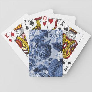 Indigo Blue Vintage Floral Toile Fabric No.1 Poker Deck