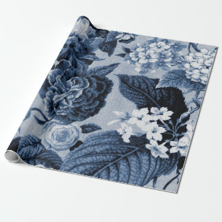 Indigo Blue Vintage Floral Toile Fabric No.1 Wrapping Paper