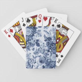 Indigo Blue Vintage Floral Toile Fabric No.3 Poker Deck