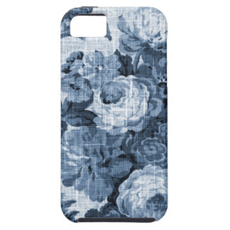 Indigo Blue Vintage Floral Toile Fabric No.4 iPhone 5 Covers