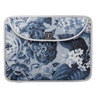 Indigo Blue Vintage Floral Toile No.1 Sleeves For MacBook Pro