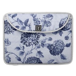 Indigo Blue Vintage Floral Toile No.2 Sleeves For MacBook Pro