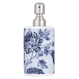 Indigo Blue Vintage Floral Toile No.2 Soap Dispenser And Toothbrush Holder