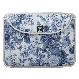 Indigo Blue Vintage Floral Toile No.3 Sleeves For MacBook Pro