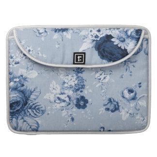 Indigo Blue Vintage Floral Toile No. 4 MacBook Pro Sleeve