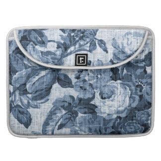Indigo Blue Vintage Floral Toile No.5 Sleeve For MacBooks