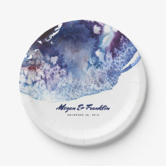 Indigo Blue Watercolor Crystals Modern Wedding 7 Inch Paper Plate