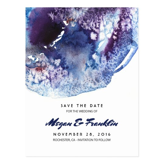 Indigo Blue Watercolor Crystals Save the Date Postcard