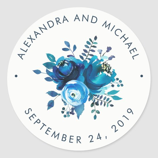 Indigo Blue Watercolor Floral | Wedding Classic Round