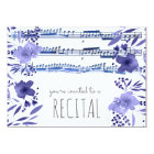 indigo blue watercolor flowers music recital card