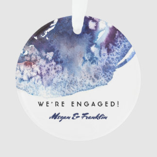 Indigo Blue Watercolor Modern Wedding / Engagement Ornament
