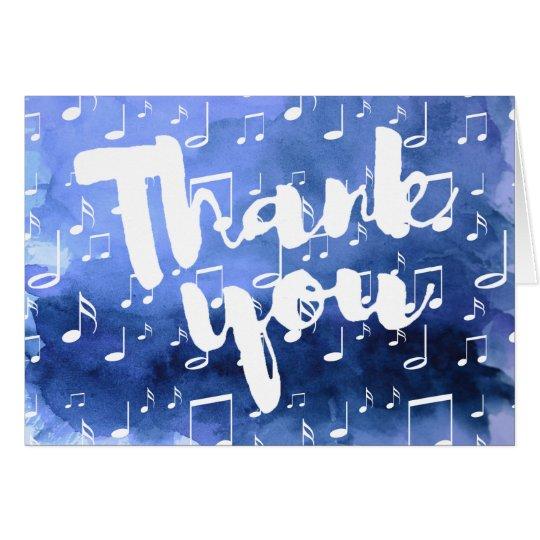 indigo blue watercolor music thank you card