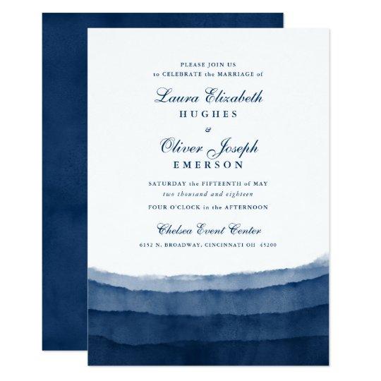 Indigo Blue Watercolor Wedding Invitations