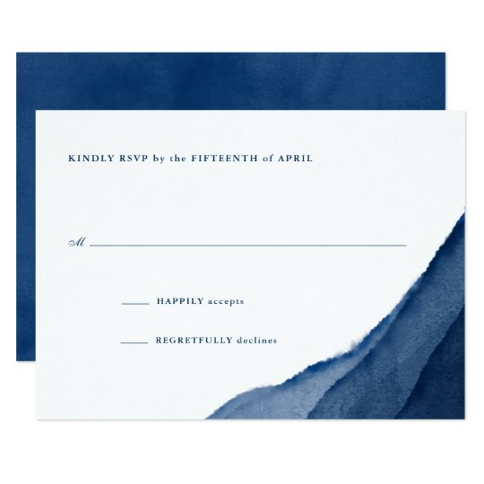 Indigo Blue Watercolor Wedding RSVP Card