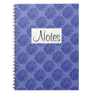 Indigo dark blue striped circle pattern on blue note books
