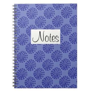 Indigo dark blue striped circle pattern on blue notebooks