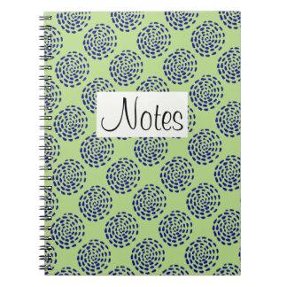 Indigo dark blue striped circle pattern on green note books
