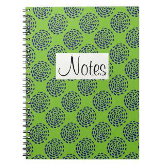 Indigo dark blue striped circle pattern on green notebook