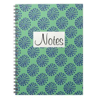 Indigo dark blue striped circle pattern on green spiral note book