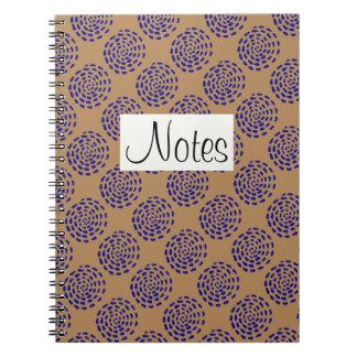 Indigo dark blue striped circle pattern on taupe spiral notebook