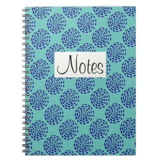 Indigo dark blue striped circle pattern on teal note books