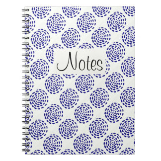 Indigo dark blue striped circle pattern on white note books