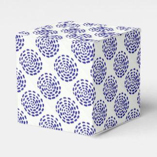 Indigo dark blue striped circle pattern on white party favour boxes