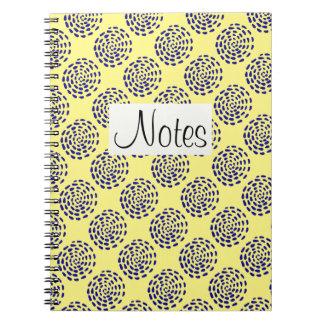 Indigo dark blue striped circle pattern on yellow spiral notebooks