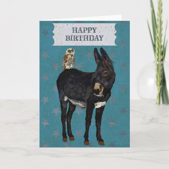 Indigo Donkey Owl Birthday Card Zazzle