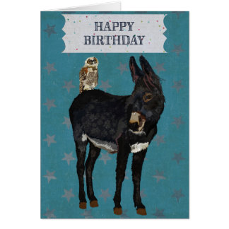 INDIGO DONKEY & OWL Birthday Card