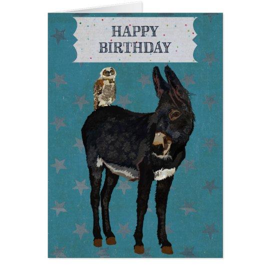 INDIGO DONKEY & OWL Birthday Card