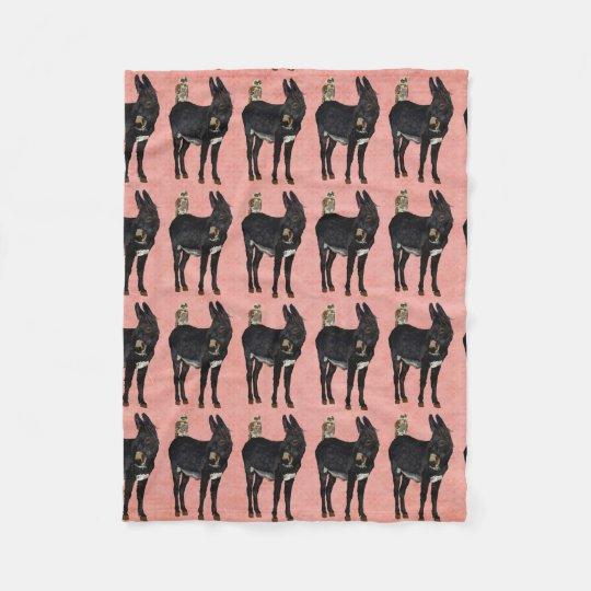 INDIGO DONKEY & OWL Fleece Blanket
