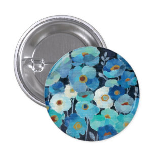 Indigo Flowers 3 Cm Round Badge