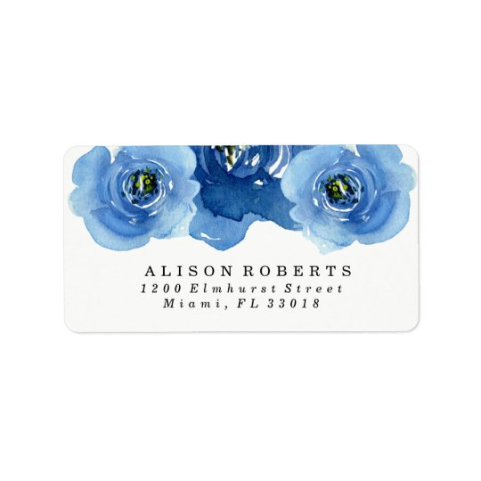 Indigo Flowers | Wedding Address Labels