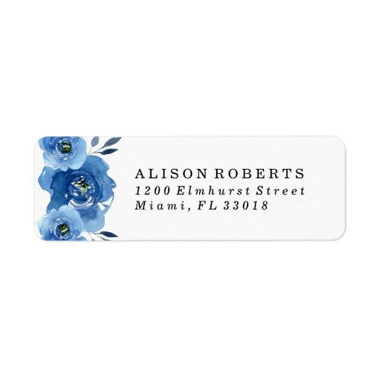 Indigo Flowers   Wedding Return Address Labels